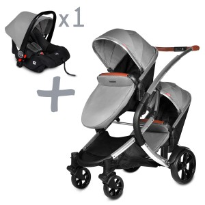 Infababy Duo Double Buggy + 1x Car Seat - Shadow Grey