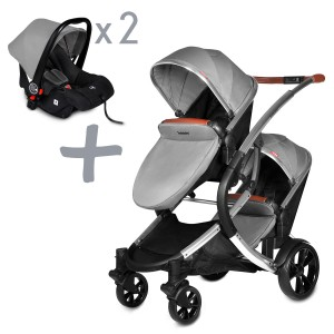 Infababy Duo Double Buggy + 2x Car Seat - Shadow Grey