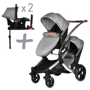 Infababy Duo Double Buggy + 2x Car Seat + 2x Base - Shadow Grey