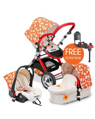 Infababy EVO 3in1 Travel System + FREE BASE - Orange Flower