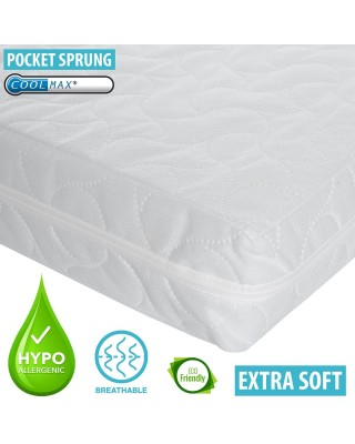 Infababy Coolmax® Cotbed Mattress - Luxury Pocket Sprung – Non-Allergenic 140 X 70cm