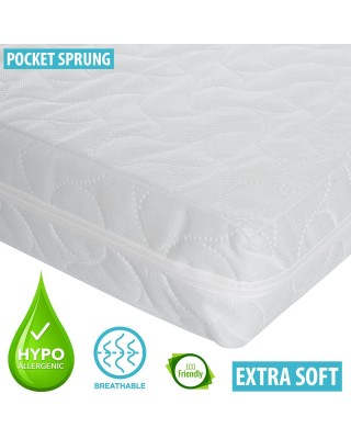 Infababy Cotbed Mattress - Luxury Pocket Sprung – Non-Allergenic 140 X 70cm