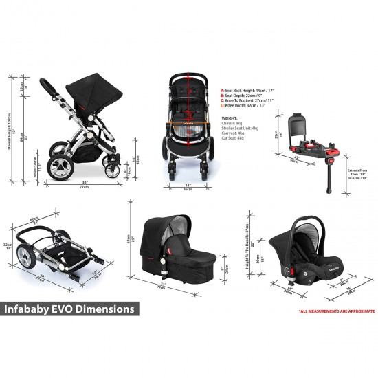 Infababy EVO 3in1 Travel System - Scarlet