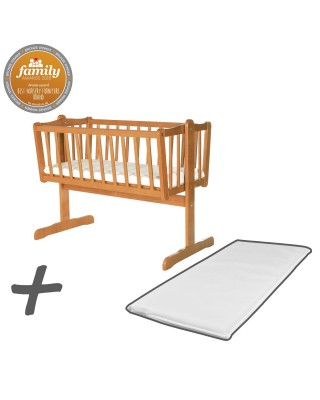 Infababy Swinging Crib Bundle Deal With Mattress - Antique Pine
