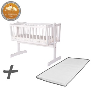 Infababy Swinging Crib Bundle Deal With Mattress - White