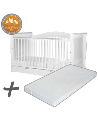 Infababy Superior Sleigh Cotbed Bundle Deal with Mattress - White