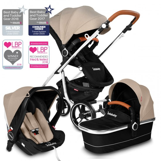 Infababy MOTO 3in1 i-Size Travel System - Soft Beige