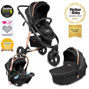 Infababy ULTIMO 3-Wheel 3in1 Travel System - Black Saffron